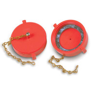 "2.5"" Red Plastic Threaded Cap & Chains For Hydrant Threads"