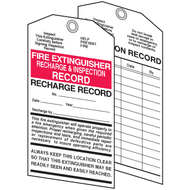 Fire Extinguisher Tags, 2 Sided, Recharge & Inspection, Card Stock, 10/pkg