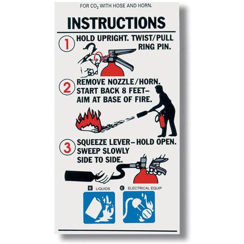 Carbon Dioxide Fire Extinguisher Instructional Label - Safety Emporium