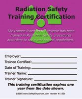 Radiation Safety Training Certification Cards