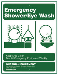 Guardian 250-008G Emergency Shower/Eye Wash Sign
