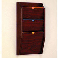 Wooden Privacy 3 Pocket Chart and File Holder