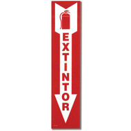 "EXTINTOR Spanish Fire Extinguisher Sign w/ Arrow, 4"" x 18"", Self-Adhesive"