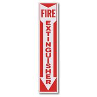 "Rigid plastic fire extinguisher sign w/ arrow, 4"" x 18"" plastic"