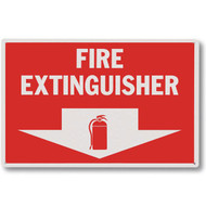 "Rigid plastic fire extinguisher sign w/ arrow and icon, 12""w x 8""h plastic"