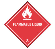Class 3 Flammable Liquid DOT Shipping Labels, 500/roll