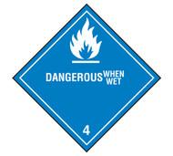 Class 4 Dangerous When Wet DOT Shipping Labels, 500/roll