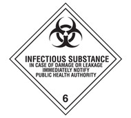 Class 6 Infectious Substance DOT Shipping Labels, 500/roll