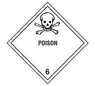Class 6 Poison DOT Shipping Labels, 500/roll