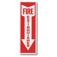 "Aluminum fire extinguisher sign w/ arrow, short, 4""w x 12""h aluminum"