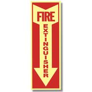 "Glow in the dark fire extinguisher sign w/ arrow, short, 4""w x 12""h vinyl"