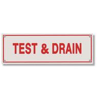 Test & Drain Aluminum Sprinkler Identification Sign