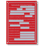 "Hydraulic System Aluminum Sprinkler Identification Sign, 5""w x 7""h"