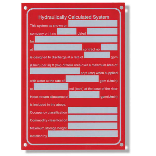 Hydraulic system aluminum sprinkler identification sign