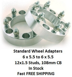 Wheel Adapters 6X5.5 to 6x5.5 (pair of 2) 12x1.5, 108mm Hub Bore