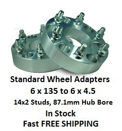 Wheel Adapters 6X135 to 6x4.5 (pair of 2) 14x2 Studs, 87mm Hub Bore