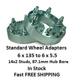 Wheel Adapters 6X135 to 6x5.5 (pair of 2) 14x2 Studs, 87mm Hub Bore