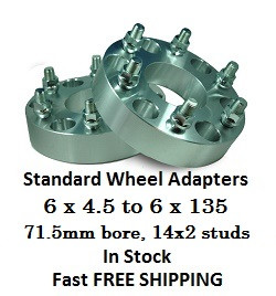 Wheel Adapters 6X4.5 to 6x135 (pair of 2) 14x2 Studs, 71.5mm Hub Bore