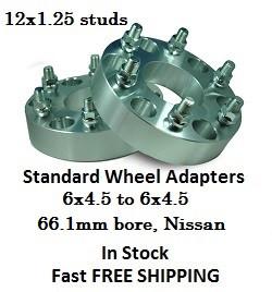 Wheel Adapters 6X4.5 to 6x4.5 (pair of 2) 12x1.25 Studs, 66.1mm Hub Nissan