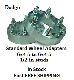 Wheel Adapters 6X4.5 to 6x4.5 (pair of 2) 1/2in Studs, 73mm Hub Bore Dodge