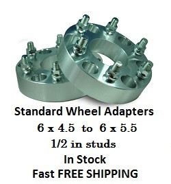 Wheel Adapters 6X4.5 to 6x5.5 (pair of 2) 1/2in Studs, 73mm Hub Bore