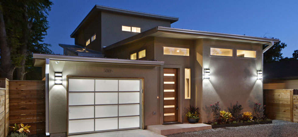 Exterior wall lights on a contemporary home.