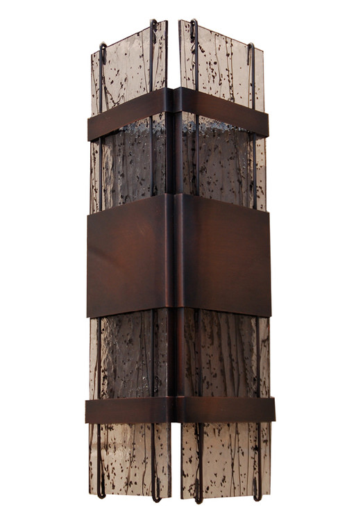 Floating Glass Transitional Wall Sconce shown in antique copper with black streaky fused glass