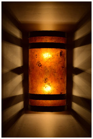 Dark antique copper banded wall light with amber mica at night & Home Theater Lighting | Media Room Lighting azcodes.com