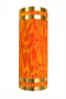 Stainless steel wall sconce with orange moire pattern diffuser