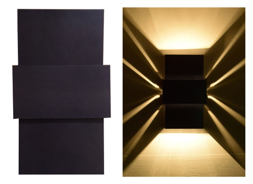 Day and night views of this unique wall light.