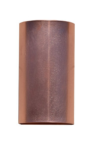 Solid copper half cylinder wall sconce.  Available in any size you wish.  Choose up and down lighting or strictly down lighting.  Interior and exterior wall light.