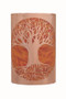 Tree of Life wall light in raw copper with an orange diffuser.