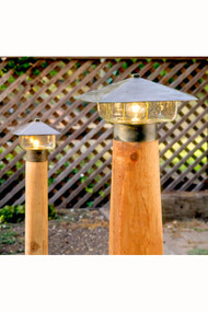 These Coe Studios Gl and ES lamps are shown on the optional cedar posts which are available at additional expense.  Please contact us for best pricing.
