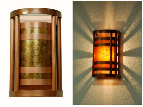 Light antique copper and amber mica wall light shown in the day and the evening.  Small size.