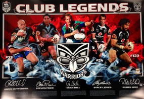 Warriors Club Legends Limited Edition Print - Signed by Five Legendary Players