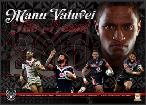 Manu Vatuvei 200 NRL Games Limited Edition Print - Signed by Manu Vatuvei