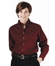 Women's Button Down Poplin Waitress Shirt Long Sleeve