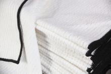 14x17 White Ribbed Microfiber Towel w/Black I.D. Thread