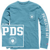 LEAGUE APPAREL LONG-SLEEVE POCKET T-SHIRT, AQUA