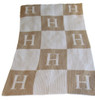 Personalized Initials & Blocks Blanket Cashmere or Acrylic - Base Color Sand, Accent & Initial Color White
