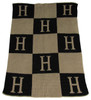 Personalized Initials & Blocks Blanket Cashmere or Acrylic - Base Color Black, Accent & Initial Color Sand