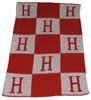 Personalized Initials & Blocks Blanket Cashmere or Acrylic - Base Color Off White, Accent & Initial Color Red
