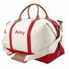 Haley Canvas & Leather Trim Weekender Red