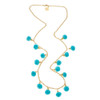 Long Fiesta Pom Pom  Necklace - Turquoise