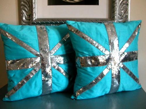 Silk Shantung Union Jack Cushion, Union Jack Throw Pillow -turquoise