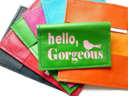 Hello Gorgeous Leather Credit Card Case & Metro Card Holder