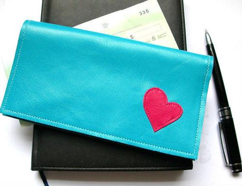 Berri Leather Checkbook Holder with Heart Applique