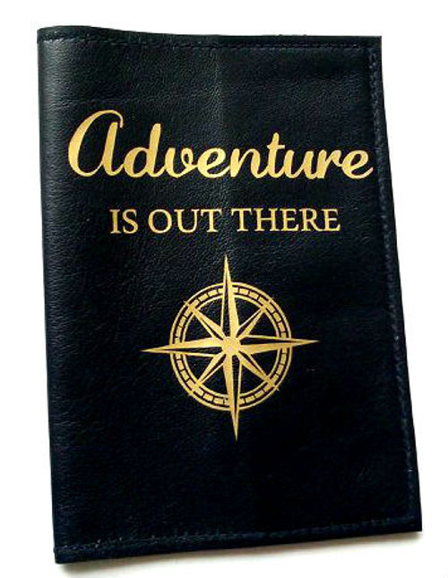 Men's Leather Passport Cover -Adventure Is Out There