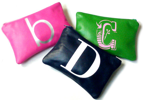 Initial Personalized Leather Change Purse & Coin Purse