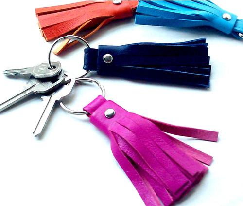 Astrid Leather Tassel Key Chain & Key Fob 2.5